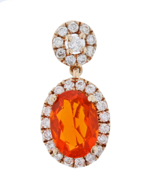 Fire Opal Ladies Pendant (Fire Opal 0.52 cts. White Diamond 0.18 cts.)