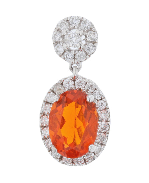 Fire Opal Ladies Pendant (Fire Opal 0.52 cts. White Diamond 0.17 cts.)