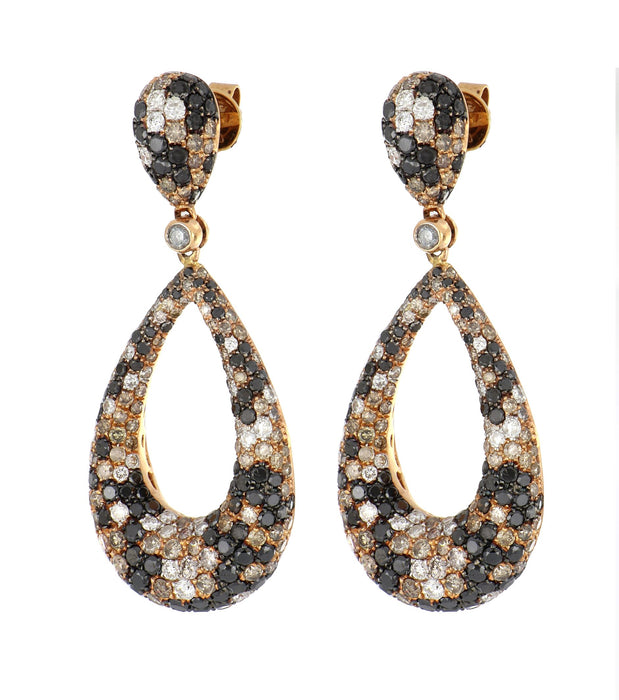 Brown Diamond Ladies Earrings (Brown Diamond 3.15 cts. Black Diamond 3.42 cts. White Diamond 0.91 cts.)
