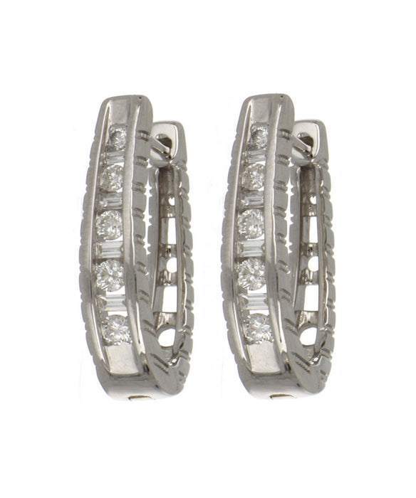 14KT White Gold Hoop Diamond Earrings