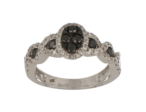 Black Diamond Ladies Ring (Black Diamond 0.7 cts. White Diamond 0.33 cts.)