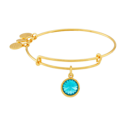 ALEX AND ANI Blue Zircon Birthstone Charm Bangle With Swarovski Crystlas Shiny Gold
