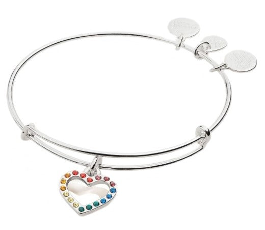 ALEX AND ANI Crystal Infusion Rainbow Heart