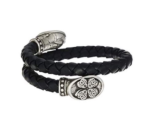 ALEX AND ANI Men's Four Leaf Clover Braided Leather Wrap