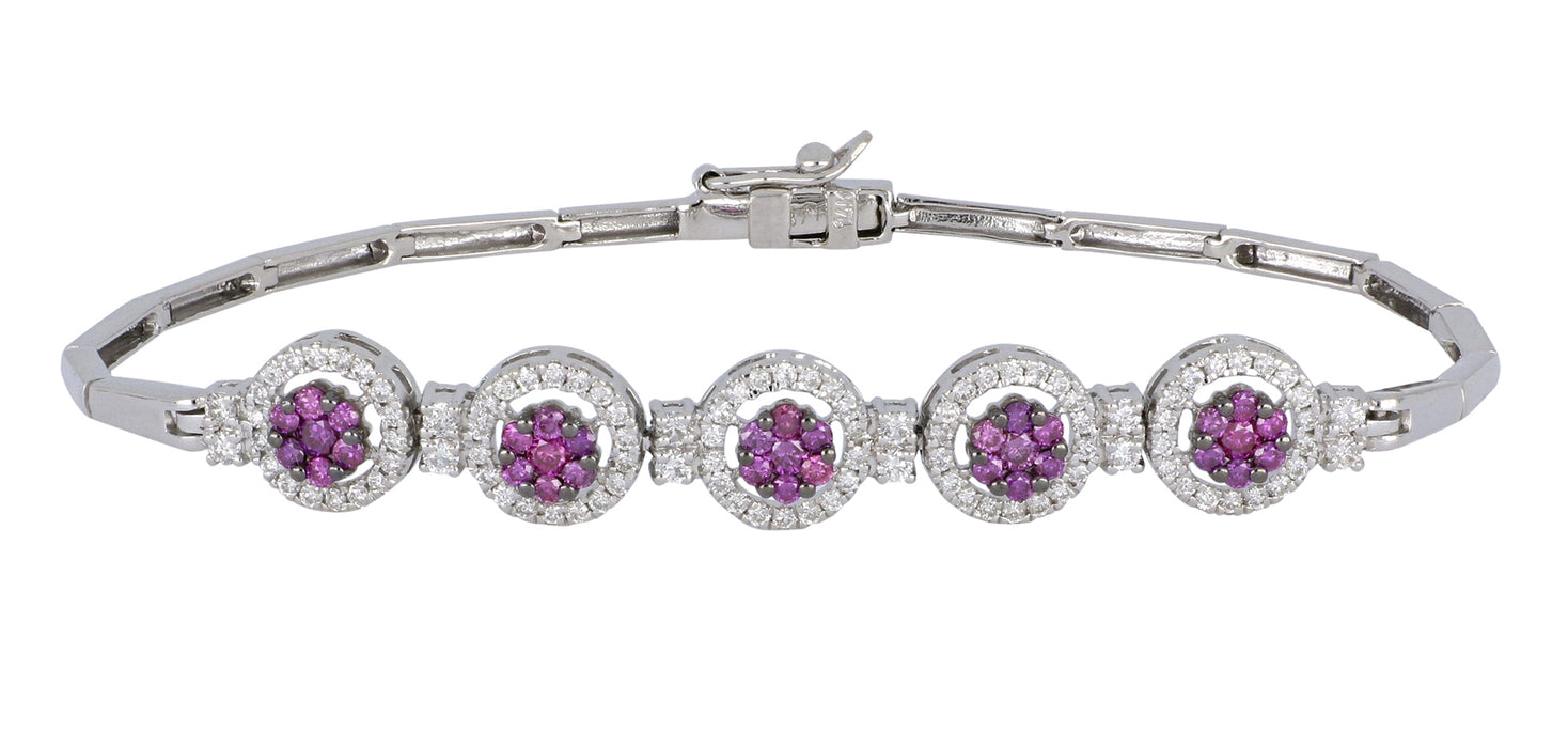 Purple Diamond Ladies Bracelet (Purple Diamond 0.61 cts. White Diamond 0.76 cts.)