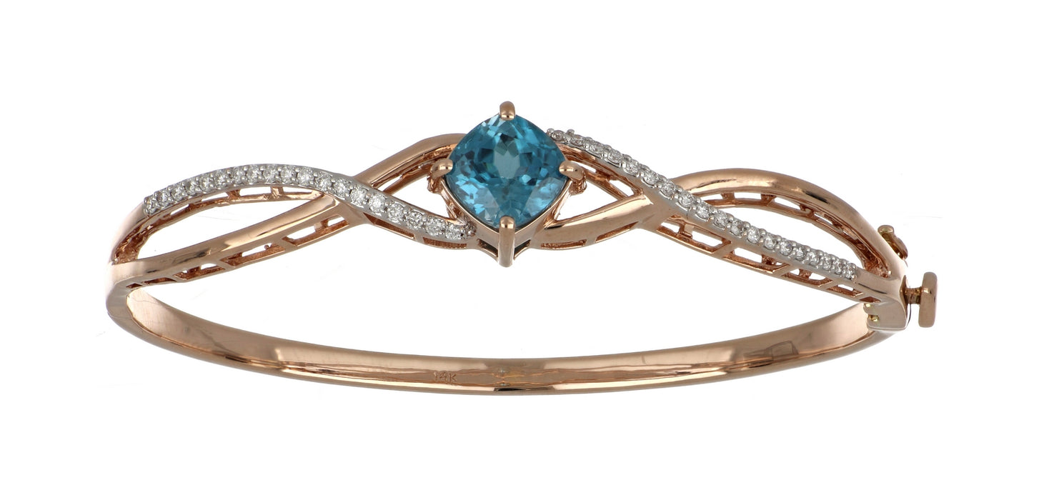 Blue Zircon Ladies Bangle (Blue Zircon 3.76 cts. White Diamond 0.36 cts.)