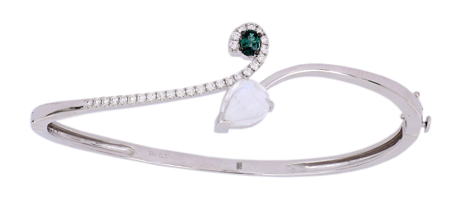 MARK HENRY Alexandrite Ladies Bangle (Alexandrite 0.17 cts. Moon Stone 1.65 cts. White Diamond 0.32 cts.)