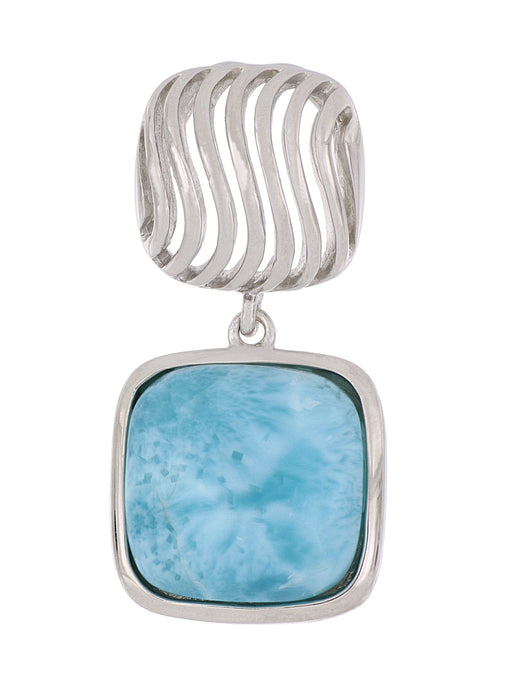 Cushion Shaped Larimar Pendant set in S/S