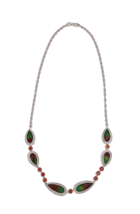 KORITE Ammolite Ladies Necklace (Ammolite Orange Sapphire White Sapphire)