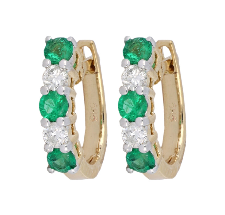 Emerald Ladies Earrings (Emerald 0.56 cts. White Diamond 0.28 cts.)