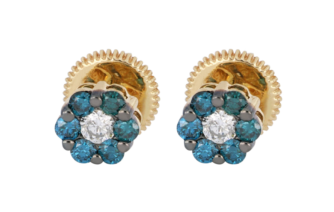 Blue Diamond Ladies Earrings (Blue Diamond 0.36 cts. White Diamond 0.14 cts.)