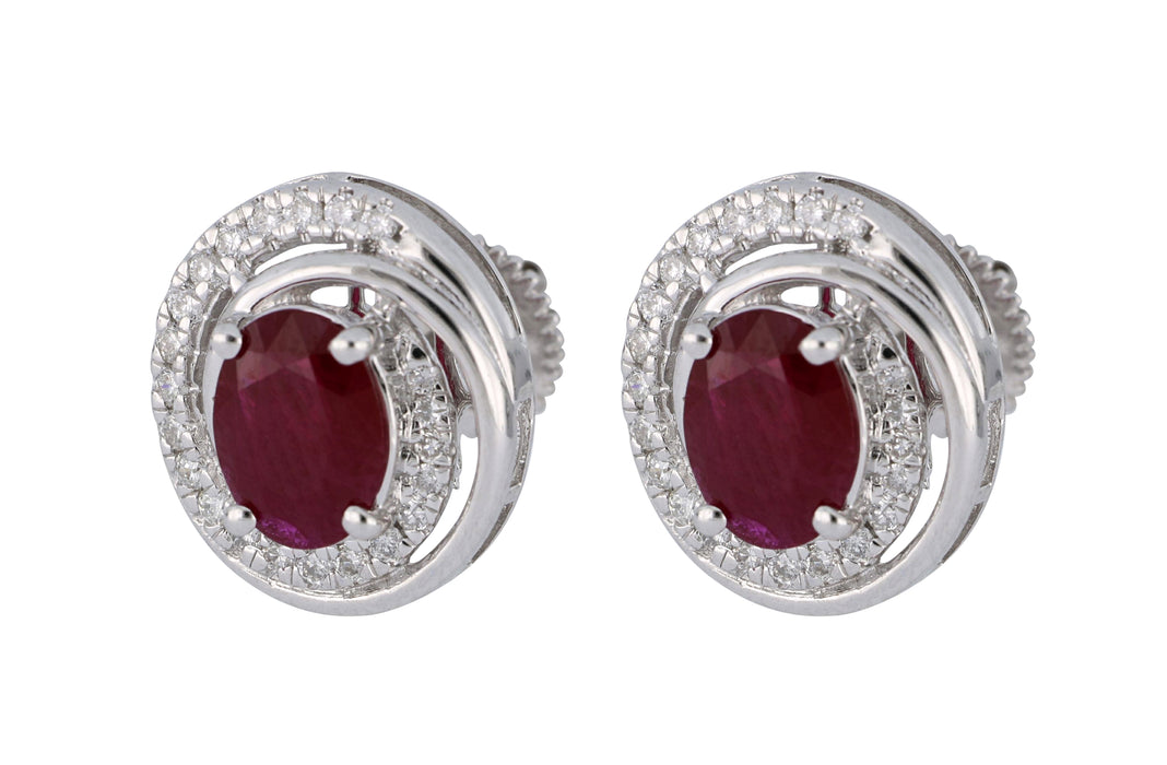 Ruby Ladies Earrings (Ruby 2.24 cts. White Diamond 0.38 cts.)