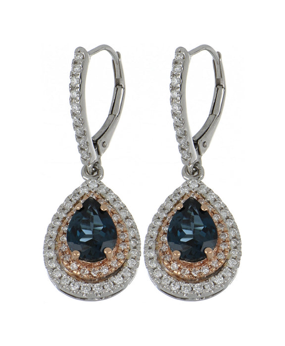 London Blue Topaz Ladies Earrings (London Blue Topaz 2.51 cts. White Diamond 0.74 cts.)