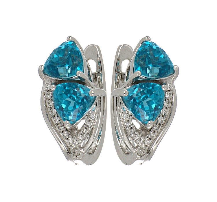 Blue Zircon Ladies Earrings (Blue Zircon 6.01 cts. White Diamond 0.14 cts.)
