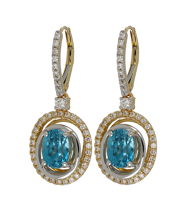 Blue Zircon Ladies Earrings (Blue Zircon 4.81 cts. White Diamond 0.8 cts.)