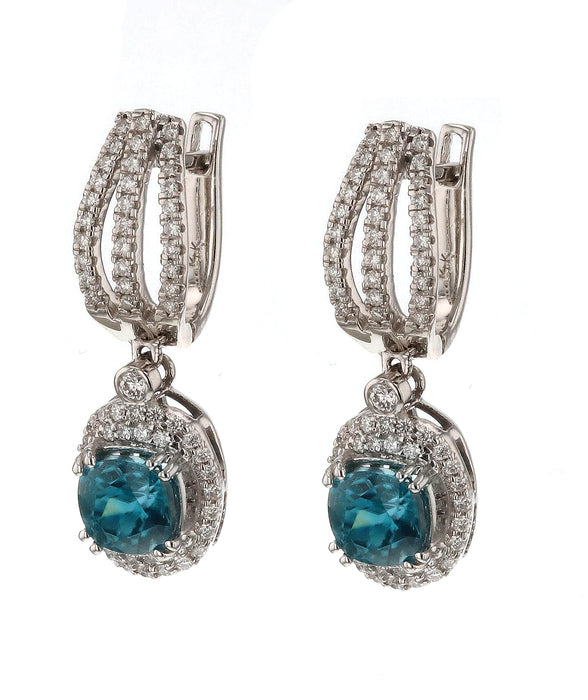 Blue Zircon Ladies Earrings (Blue Zircon 4.05 cts. White Diamond 0.68 cts.)