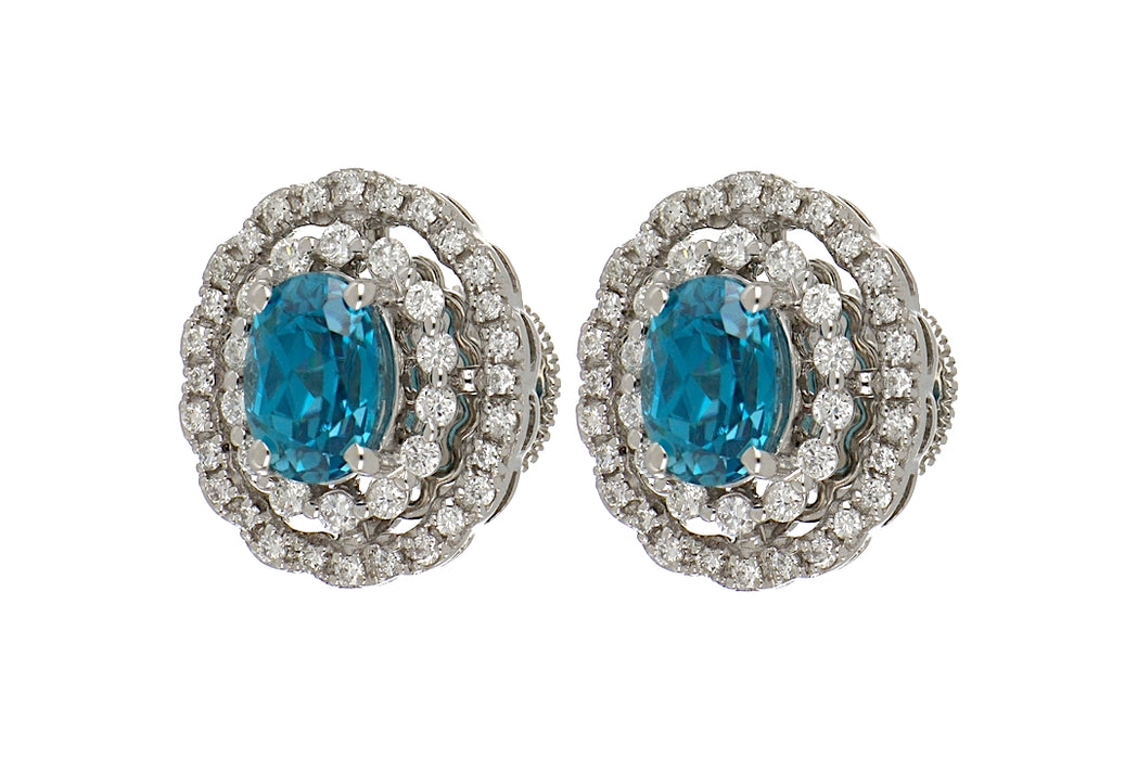 Blue Zircon Ladies Earrings (Blue Zircon 3.22 cts. White Diamond 0.58 cts.)