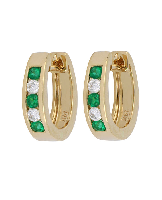 Emerald Ladies Earrings (Emerald 0.34 cts. White Diamond 0.24 cts.)
