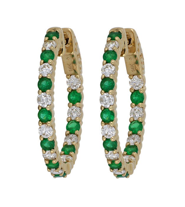 Emerald Ladies Earrings (Emerald 0.95 cts. White Diamond 1.01 cts.)