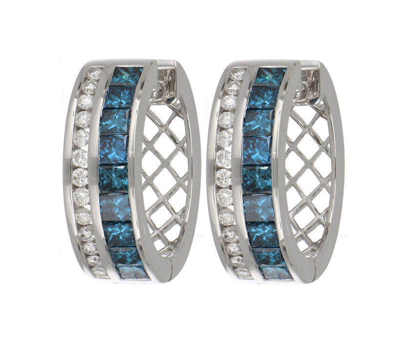 Blue Diamond Ladies Earrings (Blue Diamond 1.6 cts. White Diamond 0.38 cts.)