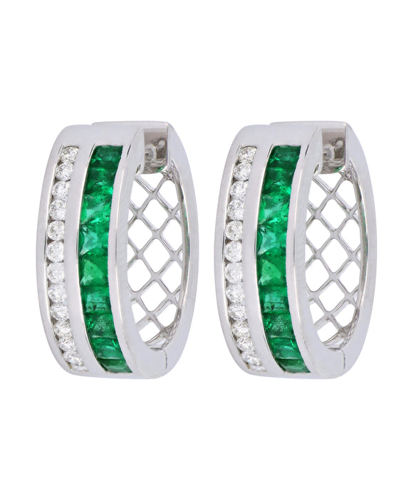 Emerald Ladies Earrings (Emerald 1.2 cts. White Diamond 0.41 cts.)