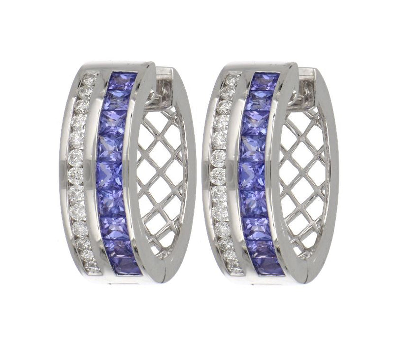 Tanzanite Ladies Earrings (Tanzanite 1.43 cts. White Diamond 0.40 cts.)