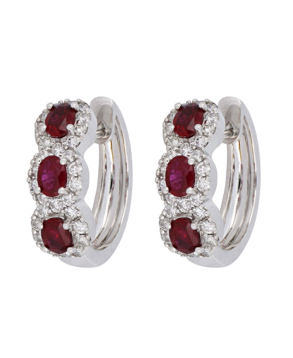 Ruby Ladies Earrings (Ruby 1.25 cts. White Diamond 0.69 cts)