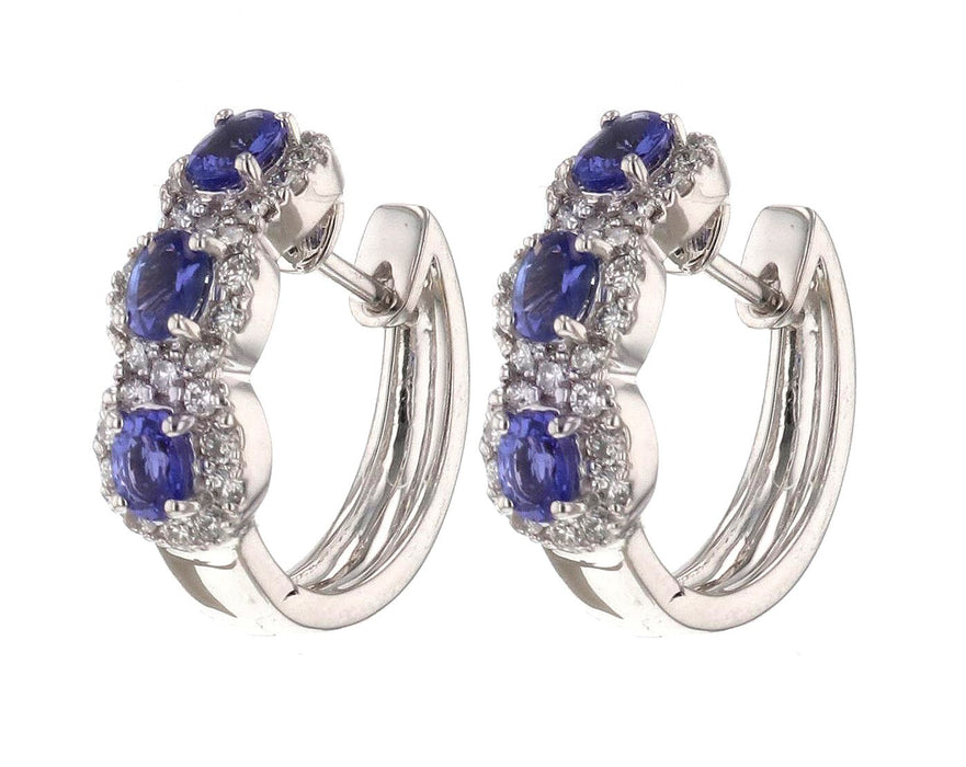 Tanzanite Ladies Earrings (Tanzanite 1.06 cts. White Diamond 0.67 cts.)