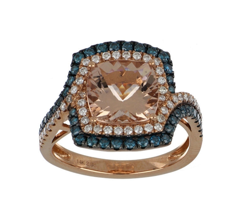 Morganite and Blue Diamond Ladies Ring (Morganite 2.68 cts. Blue Diamond 0.44 cts. White Diamond 0.28 cts.)