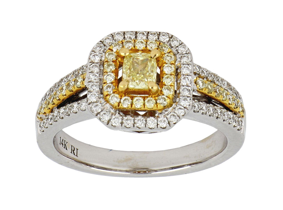 Yellow Diamond Ladies Ring (Yellow Diamond 0.26 cts. Yellow Diamond 0.23 cts. White Diamond 0.31 cts.)