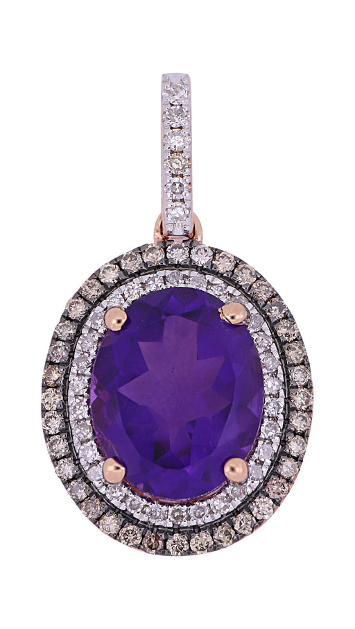 Amethyst Ladies Pendant (Amethyst 2.62 cts. Brown Diamond 0.33 cts. White Diamond Included cts.)