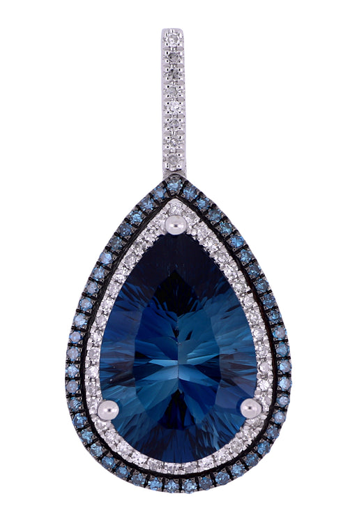 London Blue Topaz Ladies Pendant (London Blue Topaz 6 cts. Blue Diamond 0.37 cts. White Diamond Included cts.)