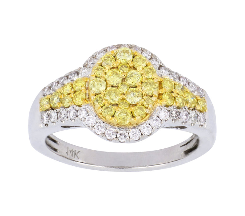 Yellow Diamond Ladies Ring (Yellow Diamond 0.65 cts. White Diamond 0.31 cts.)