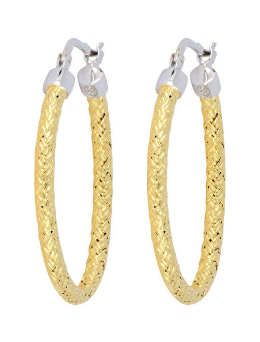 CHARLES GARNIER Sterling Silver Yellow Gold Plated Ladies Earrings