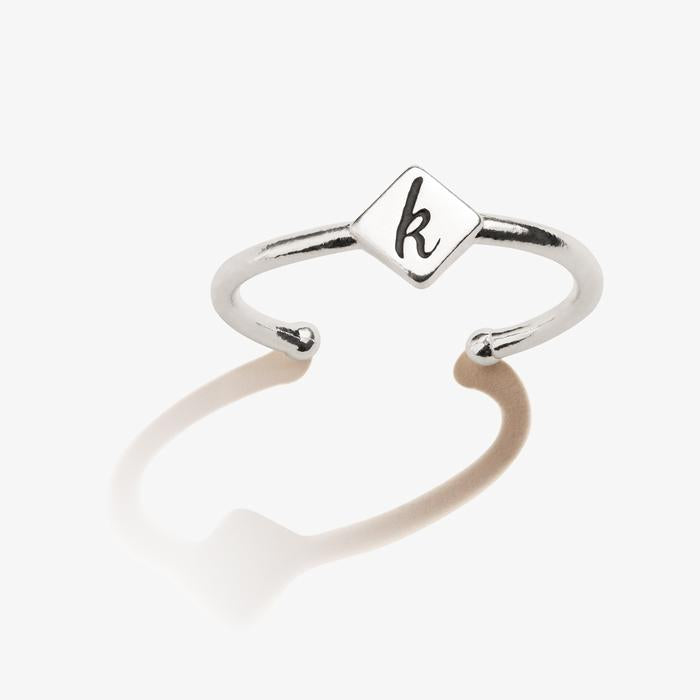 ALEX AND ANI Initial K Adjustable Ring
