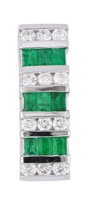 Emerald Ladies Pendant (Emerald 0.75 cts. White Diamond 0.54 cts.)