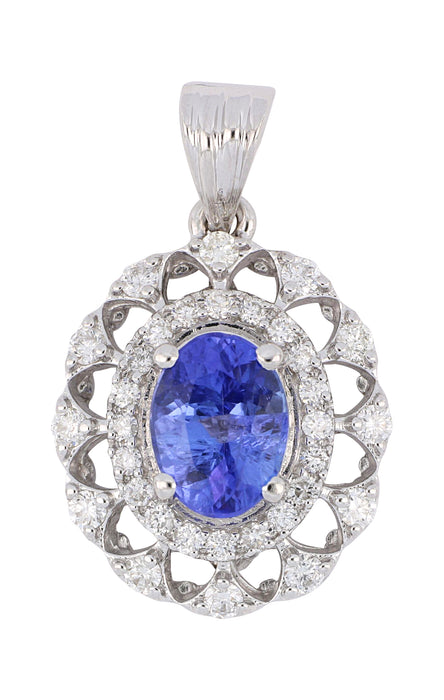 Tanzanite Ladies Pendant (Tanzanite 1.34 cts. White Diamond 0.42 cts.)
