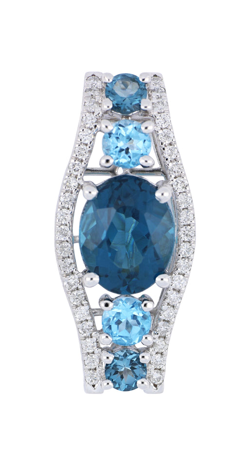 Blue Topaz Ladies Pendant (Blue Topaz 4.44 cts. White Diamond 0.32 cts.)