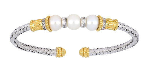 CHARLES GARNIER Sterling Silver Yellow Gold Plated Ladies Bangle White Pearl Round Cubic Zirconia