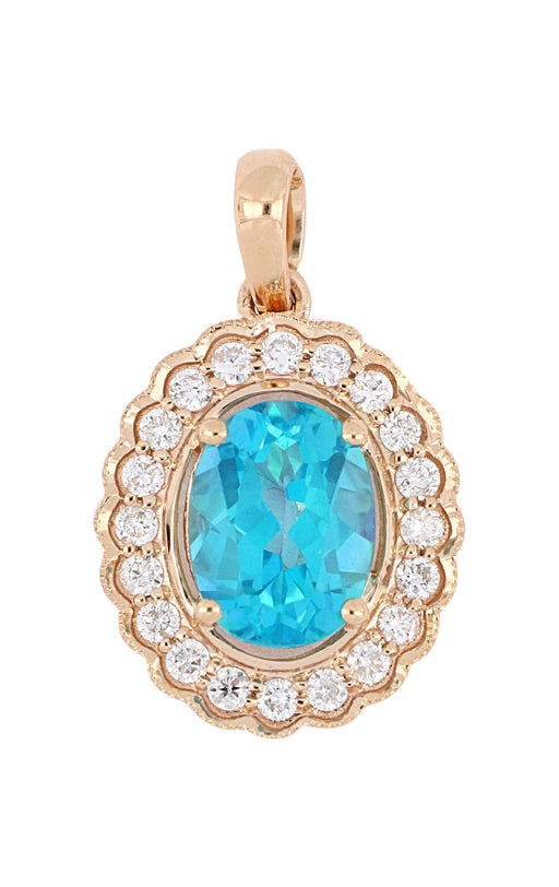 Kreations Ocean Topaz and Diamond Pendant