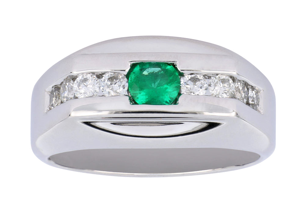 Emerald Men's Ring (Emerald 0.33 cts. White Diamond 0.52 cts.)