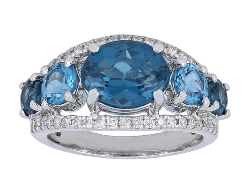 Blue Topaz Ladies Ring (Blue Topaz 5.04 cts. White Diamond 0.4 cts.)