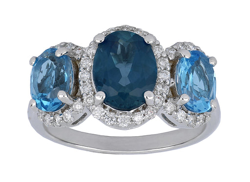 Blue Topaz Ladies Ring (Blue Topaz 4.21 cts. White Diamond 0.45 cts.)