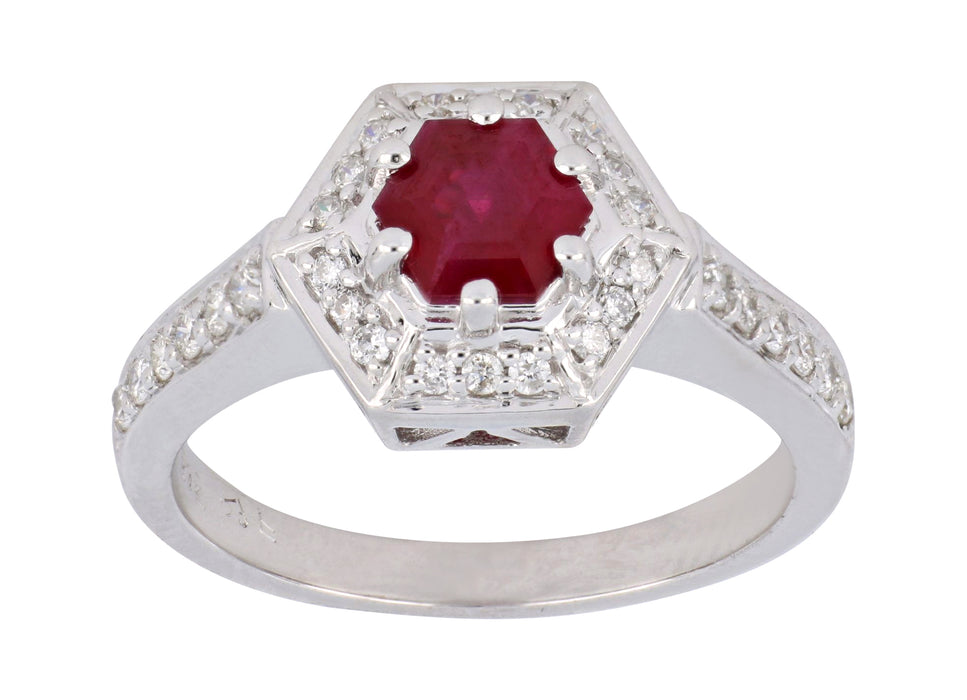 Ruby Ladies Ring (Ruby 0.85 cts. White Diamond 0.29 cts.)