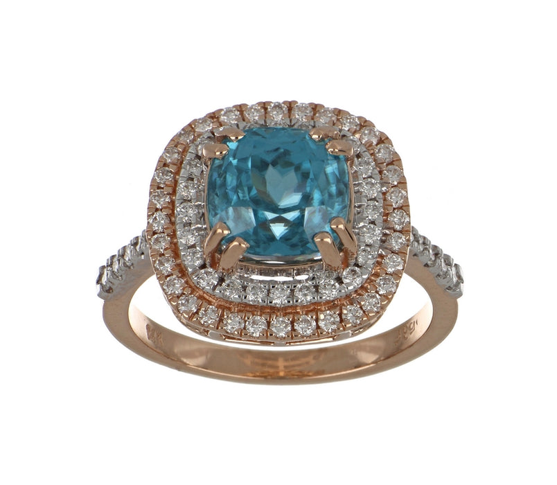 Blue Zircon Ladies Ring (Blue Zircon 4.93 cts. White Diamond 0.53 cts.)