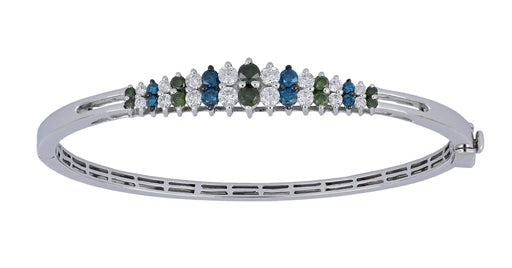 Blue and Green Diamond Ladies Bangle (Blue Diamond 0.43 cts. Green Diamond 0.56 cts. White Diamond 0.82 cts.)