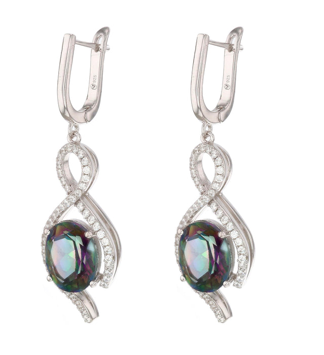 Rainbow Topaz Ladies Earrings (Rainbow Topaz 8.4 cts. Cubic Zirconia)
