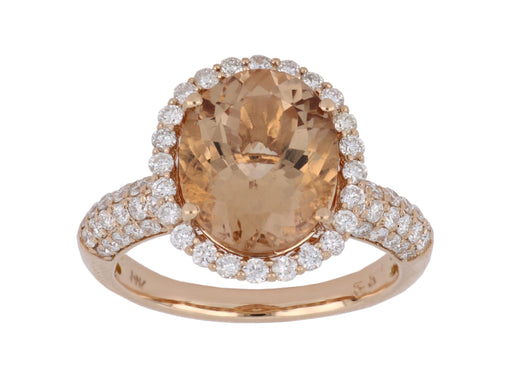 Morganite Ladies Ring (Morganite 4.25 cts. White Diamond 0.83 cts.)