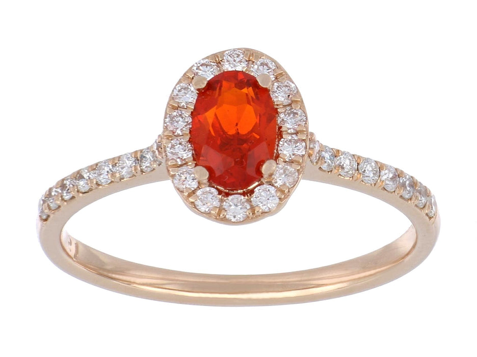 Fire Opal Ladies Ring (Fire Opal 0.34 cts. White Diamond 0.29 cts.)