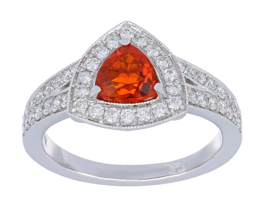 Fire Opal Ladies Ring (Fire Opal 0.58 cts. White Diamond 0.54 cts.)
